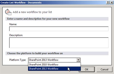 sharepoint the option for the sharepoint 2013 workflow