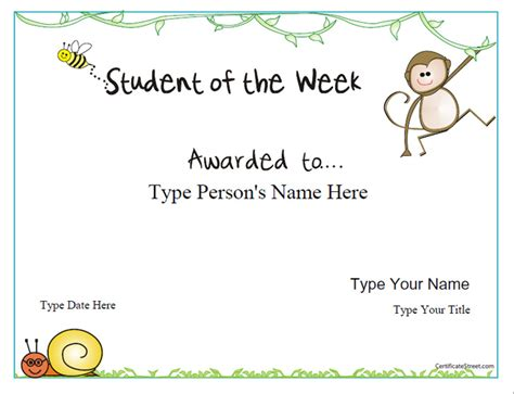 student of the week certificate template certificate free award certificate templates no