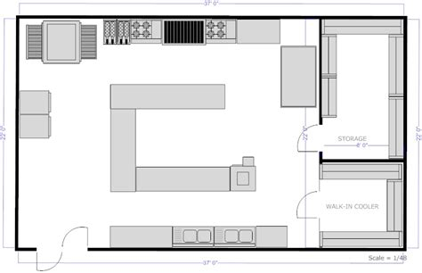 restaurant kitchen floor plans kitchen layouts with island restaurant kitchen c island floor plan exle smartdraw