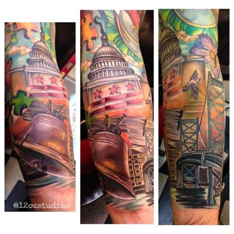 awesome philadelphia washington dc themed sleeve tattoo by