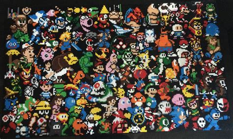 Huge Wall Murals video game classics on a lego wall gaming