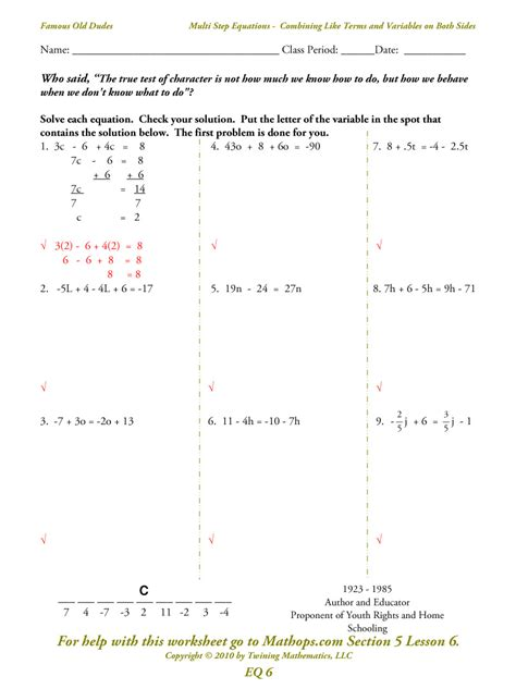 Combining Like Terms And Distributive Property Worksheet by Solving Equations With Distributive Property And Combining