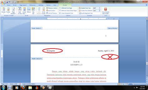 cara membuat footnote yang berbeda membuat isi header footer berbeda pada setiap bab di