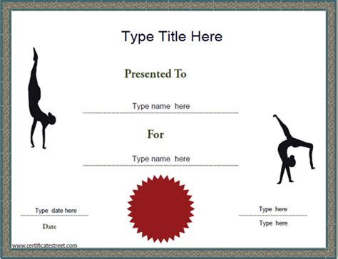 sports certificates gymnastics achievement certificate