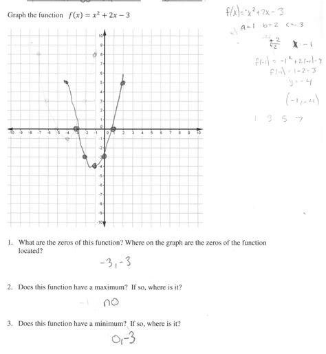 Quadratic Function Worksheet by Graphing Quadratic Functions Worksheet Answers Match