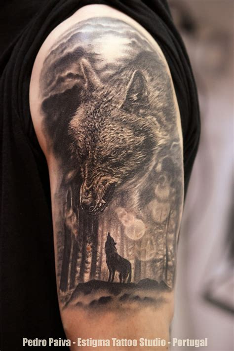 wolf and moon tattoo forest leg wolf forest moon tatuaże