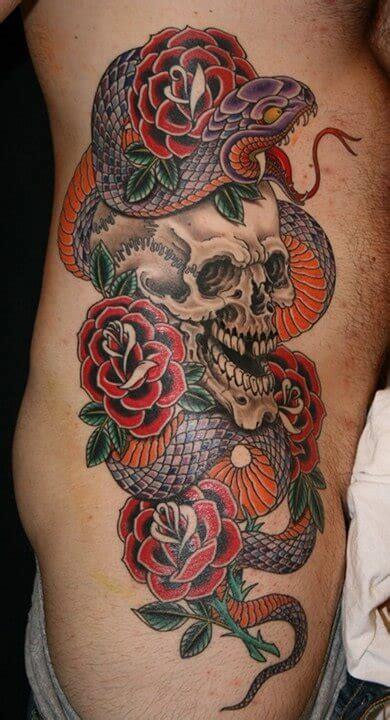 skull snake rose tattoo snake skull www pixshark images