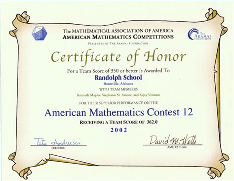 certificate for school awards for the amc 10 amc 12 contests aime usamo