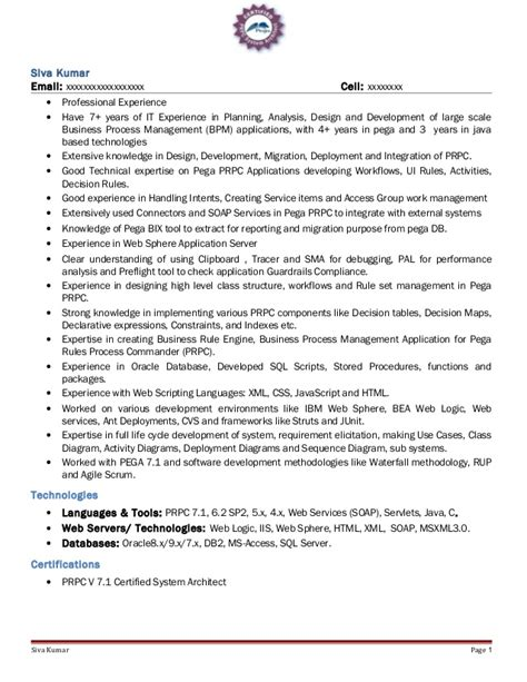 pega architect resume resume ideas