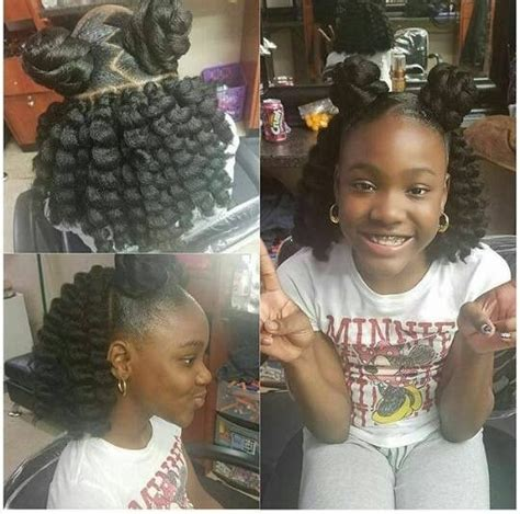 teen hairstyles for black girls bun and bang cute style for bri hair pinterest hair style kid