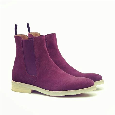 purple boots mens handmade purple suede leather boot mens chelsea suede