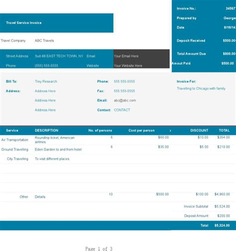 travel invoice templates download free premium