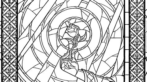 beauty and the beast window coloring page beauty and the beast stained glass window coloring page