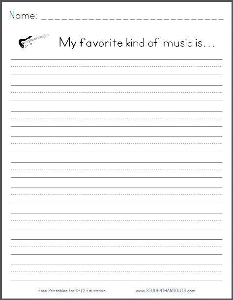 printable writing worksheets for third grade my favorite kind of music is free printable k 3