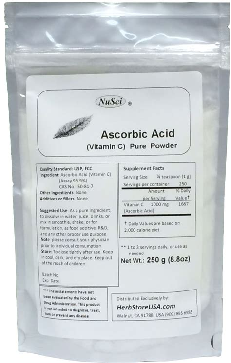 Ascorbic Acid Shelf by Bulk Ascorbic Acid Vitamin C Powder Usp 250g 8 8 Oz