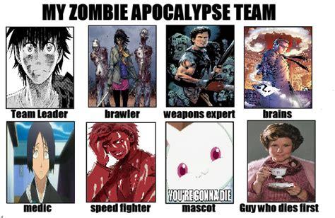 Zombie Apocalypse Meme - zombie apocalypse team meme by tohokari steel on deviantart