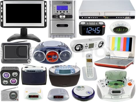 home electronics set of modern home digital electronic clocks tv radio