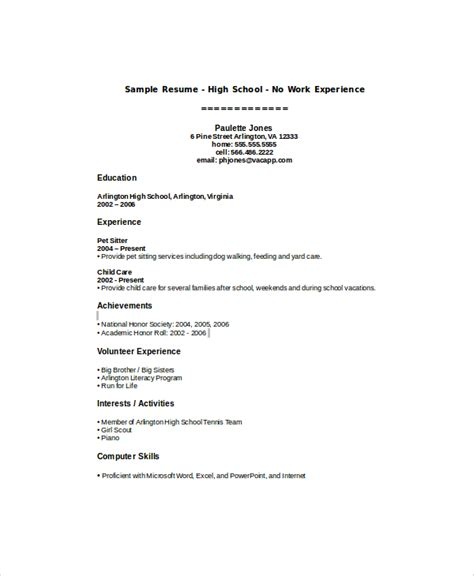 Resume Sles For Highschool Students With No Work Experience Sle High School Student Resume 8 Exles In Word Pdf