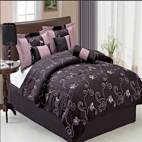 Purple Bedding Sets King 11pc Purple Scroll Floral Embroidered Comforter Sheet Set King Ebay