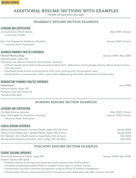 Sections Of A Resume by Additional Resume Sections With Exles Career Center