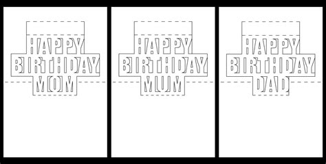 happy birthday pop up card template pdf parent pop up inserts metallics feminine free