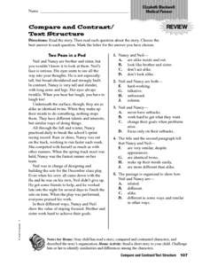 compare and contrast text structure 4th 6th grade