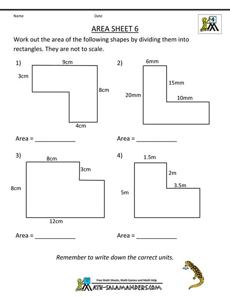 printable area area worksheets