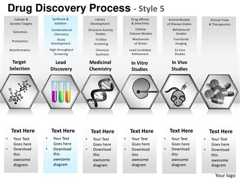 Drug discovery process style 5 powerpoint presentation