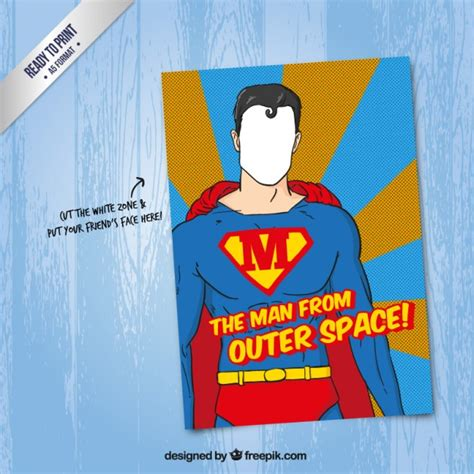 superman superpowers card template superman card vector premium