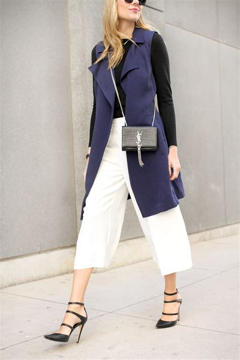 43618 Navy Vogue Cullotes white culottes navy trench vest fashion jackson
