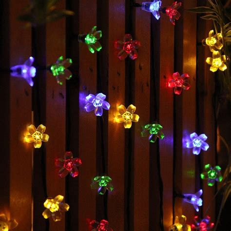 multi colored led christmas lights multi colored 50 led peach blossoms string curtain light