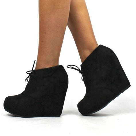 quot quot suede lace up wedge booties black ideas