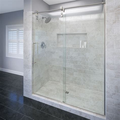 Basco Shower Doors Reviews Basco Rolaire 76 Quot X 59 Quot Single Sliding Fixed Panel Shower Door Reviews Wayfair