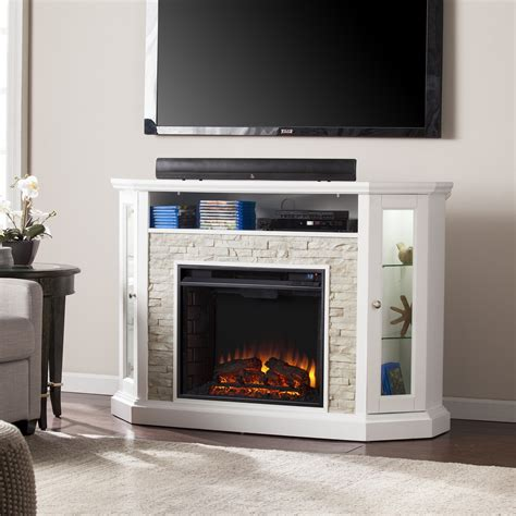 White Fireplace Media Center by 52 25 Quot Redden Corner Convertible Electric Media Fireplace