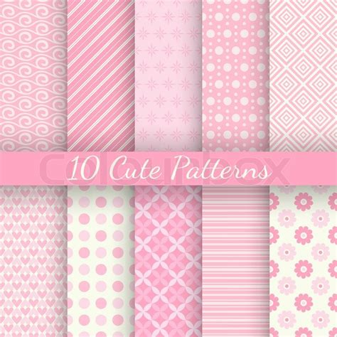 pattern cute pink 10 cute different vector seamless patterns pink and white