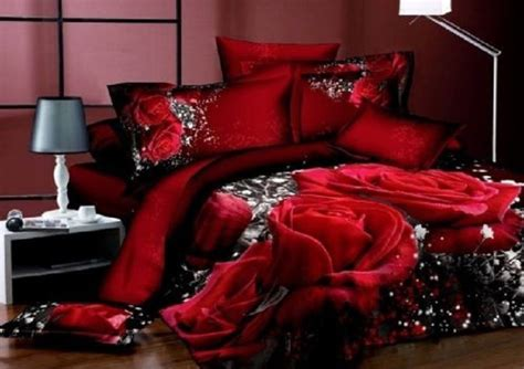 New 3d Red Rose Queen Bedding Set Flower Print Comforter