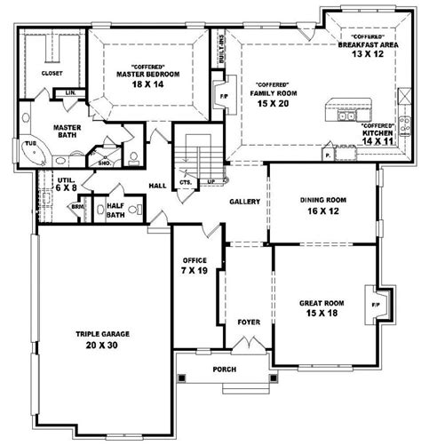 4 Bedroom 2 Story House Plans 654021 Two Story 4 Bedroom 3 5 Bath Traditional Style House Plan House Plans Floor Plans