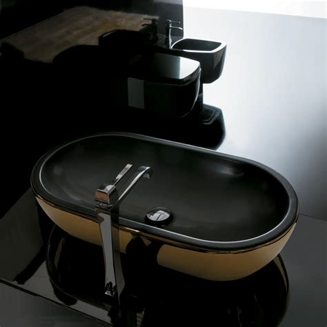 Vitra Vanity Midas Ceramic Gold Black Ultra Modern Gold Black Vessel Sink