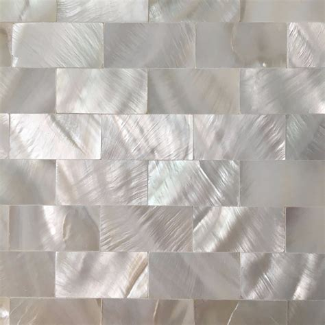 6 Shell Mosaic Tiles Peel and Stick Mother of Pearl Shell