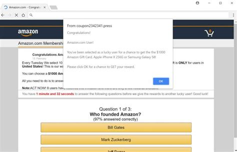 Win Amazon Gift Card Survey - remove quot win a 1000 amazon gift card quot fake alerts survey scam