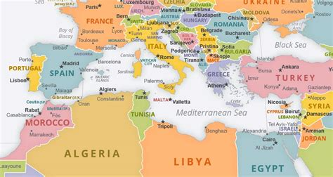 map of mediterranean mediterranean sea political map