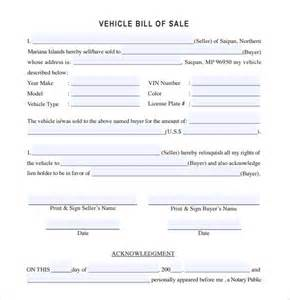 Car Bill Of Sale Template by Sle Vehicle Bill Of Sale 13 Free Documents