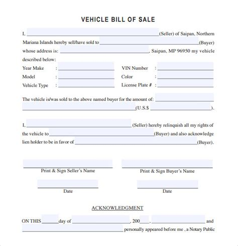 14 Sle Vehicle Bill Of Sales Pdf Word Sle Templates Automobile Bill Of Sale Template
