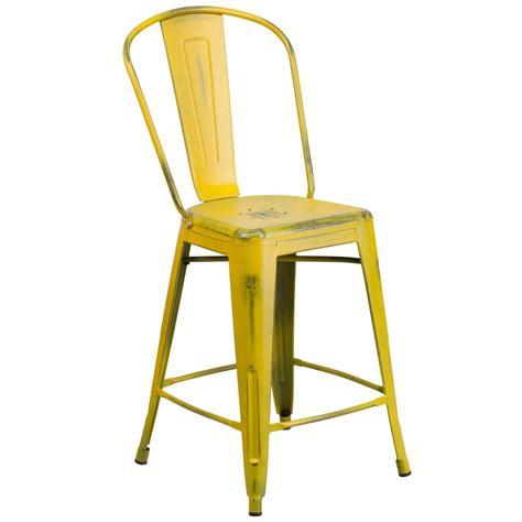 yellow bar stools flash furniture 24 in distressed yellow bar stool