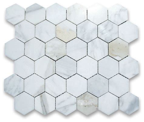 calacatta gold marble hexagon mosaic tile 2 inch polished