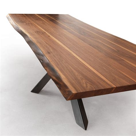 walnut dining table and bench velocity solid walnut dining table with live edges metal legs a modern industrial