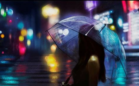 wallpaper hd umbrella girl umbrella girl rain light street beautiful free desktop