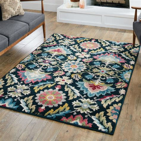 homes gardens folk art blooms area rug  runner