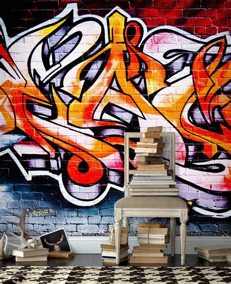 wallpaper orang grafiti wall mural hot graffiti photo wallpaper orange red