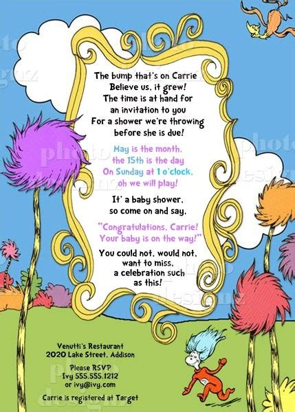 printable lorax invitations 64 best baby shower creations images on pinterest baby